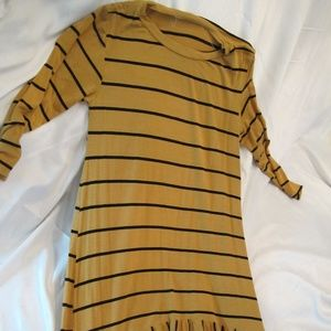 Jane Gold and Black Striped Midi Dress Long Sleeve